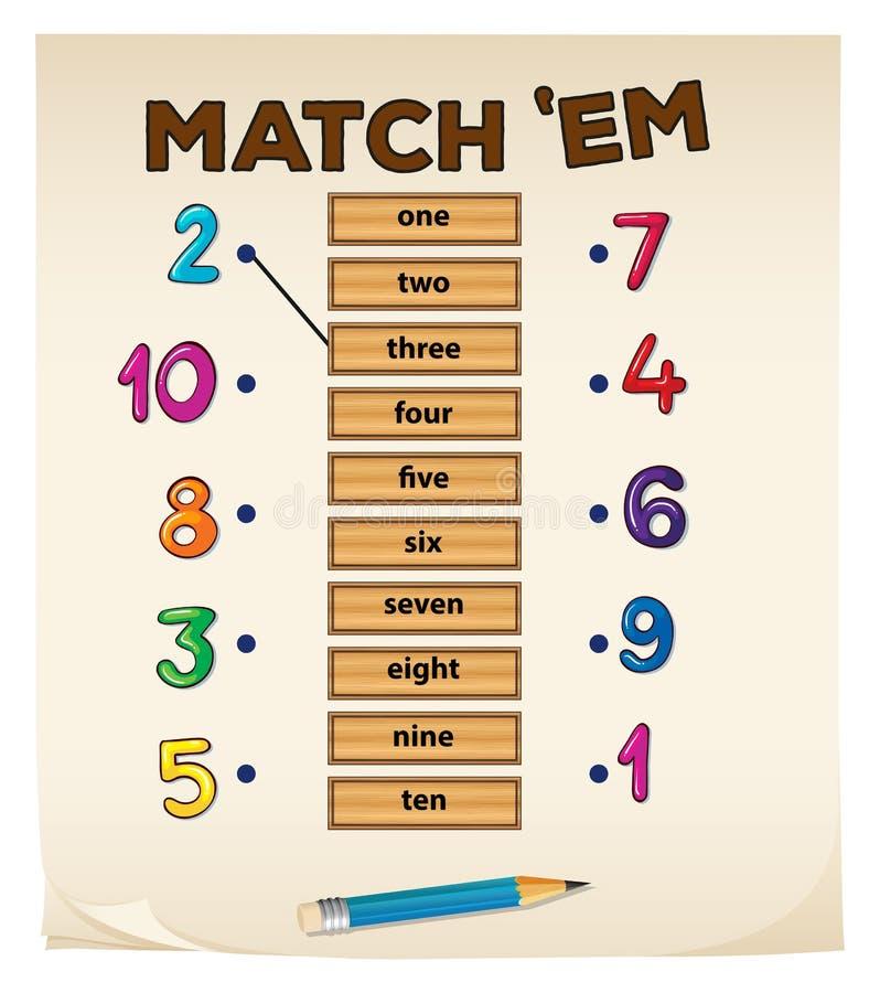 Matcha leken med nummer vektor illustrationer