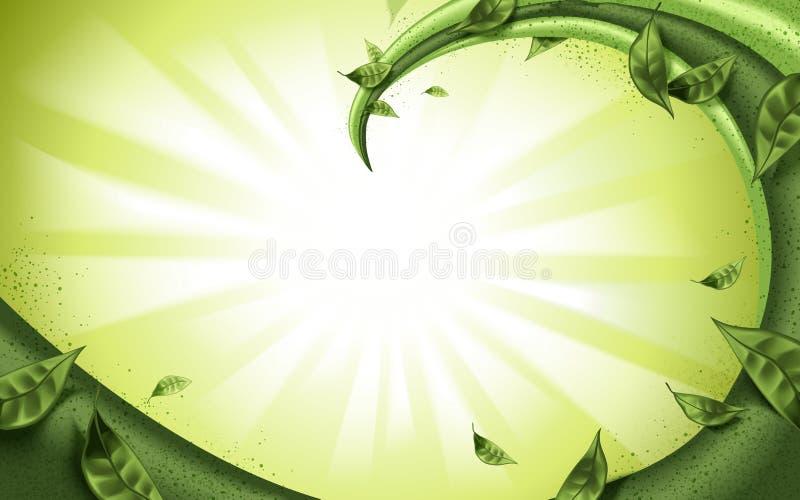 Matcha lub zielonych herbat plombowań przepływ royalty ilustracja