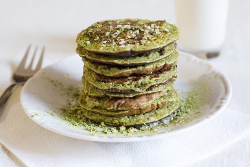 Matcha pancakes. royalty free stock image