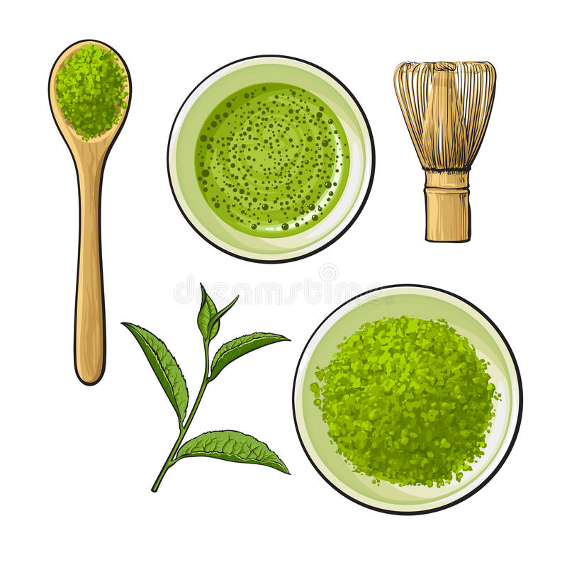 Matcha powder bowl, wooden spoon and whisk, green tea leaf stock illustration