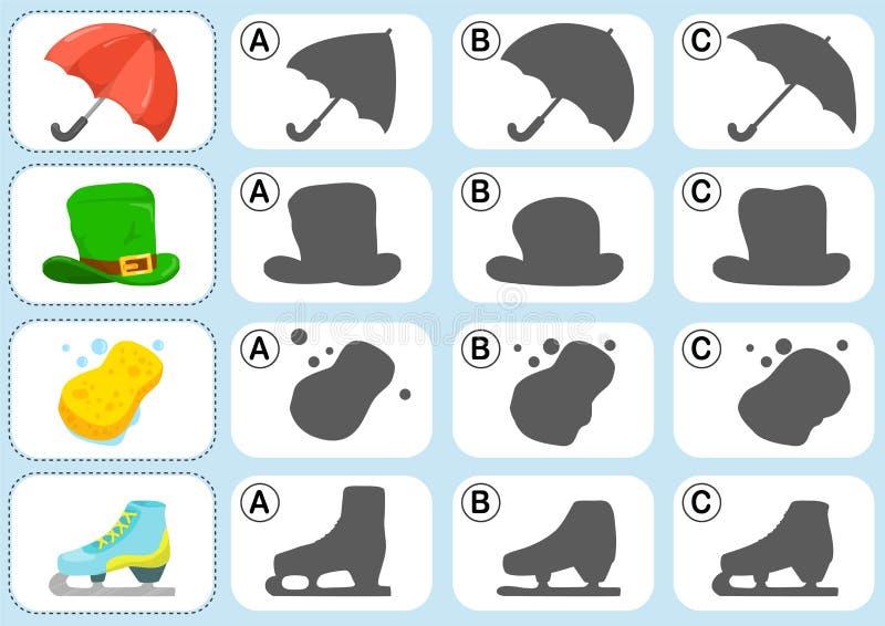Matcha skuggan - arbetssedeln för utbildning royaltyfri illustrationer
