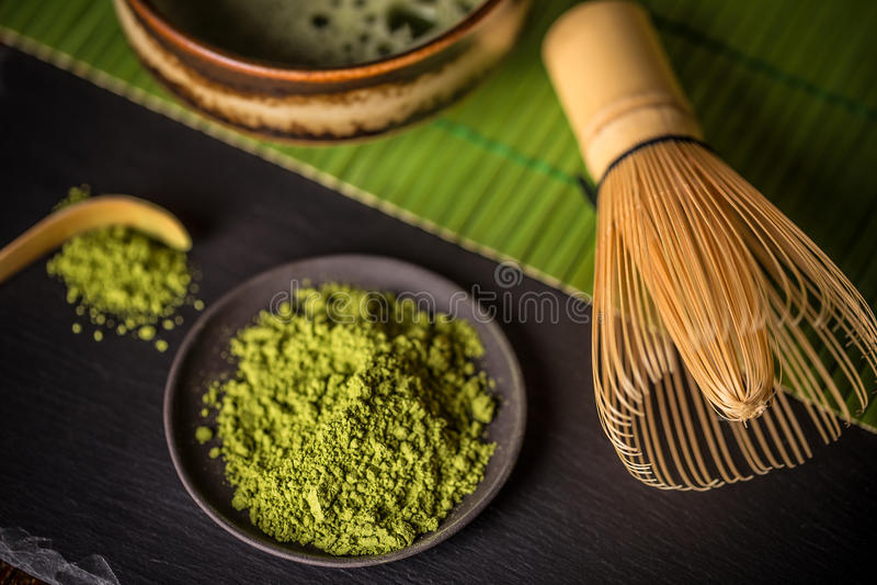 Matcha, tè verde della polvere fotografia stock libera da diritti