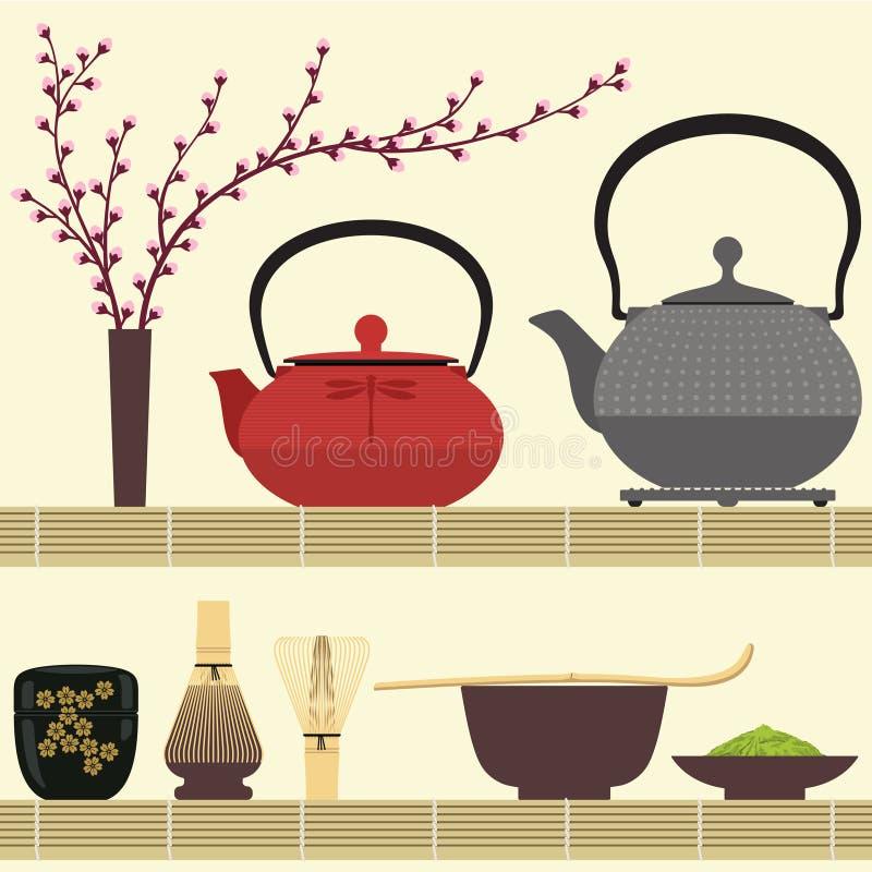 Matcha tea vektor illustrationer
