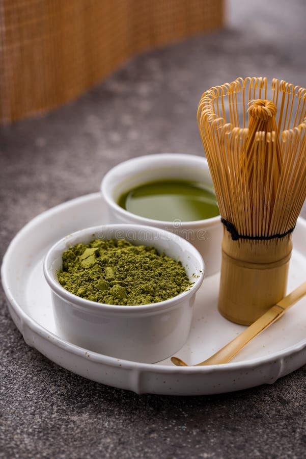 Free Matcha Tea And Bamboo Whisk Stock Photos - 180046513