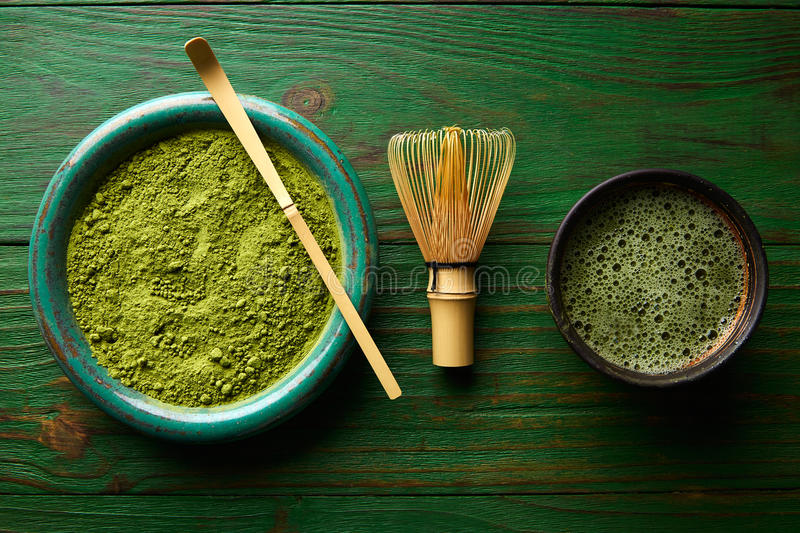 Matcha tea powder bamboo chasen and spoon. Matcha tea powder bamboo whisk chasen and spoon for japanese ceremony stock photography