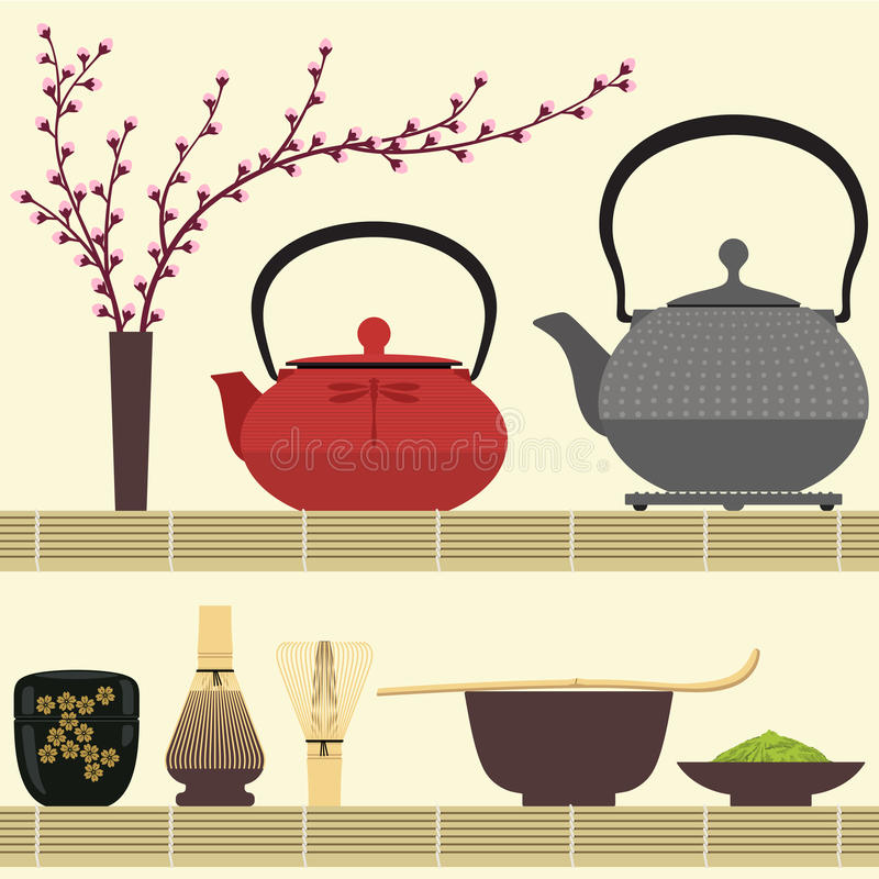 Matcha tea vector illustration