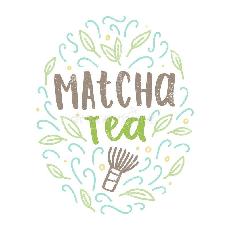 Matcha teetikett vektor illustrationer