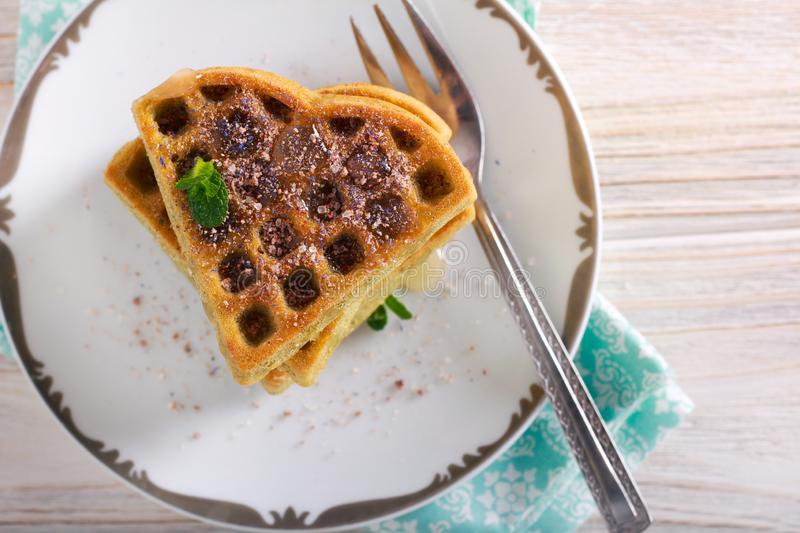 Matcha waffles with sweet topping royalty free stock image