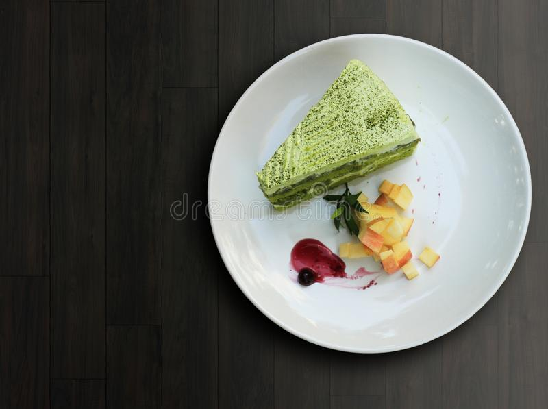 Matchacake van de close-up groene thee stock foto