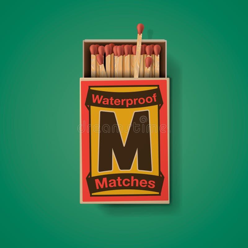 Matchbox и спички, взгляд сверху иллюстрация вектора