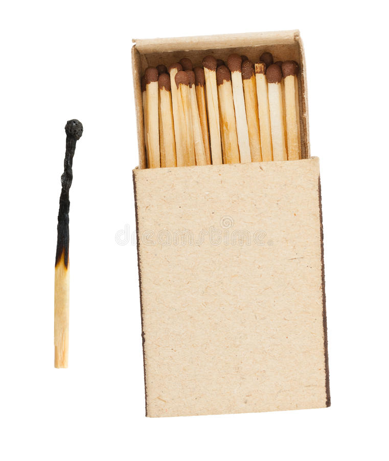 Matchbox and burnt match. Isolated on white background royalty free stock images