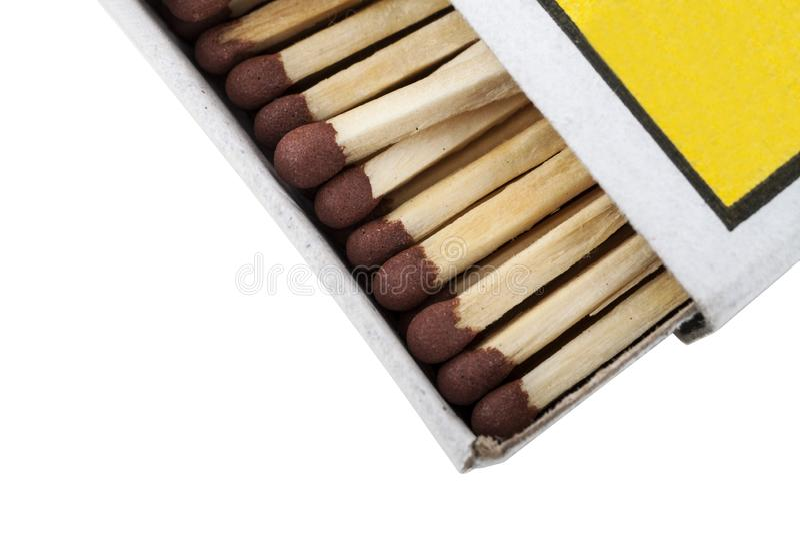 Matchbox and matches isolated on white background. Macro stock photos
