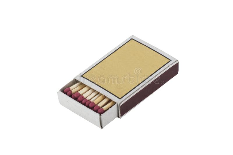 Matchbox and matches isolated on white background. Opened matchbox and matches isolated on white background royalty free stock images