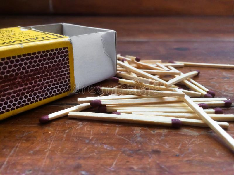 Matchbox mess on the floor. Spread royalty free stock images