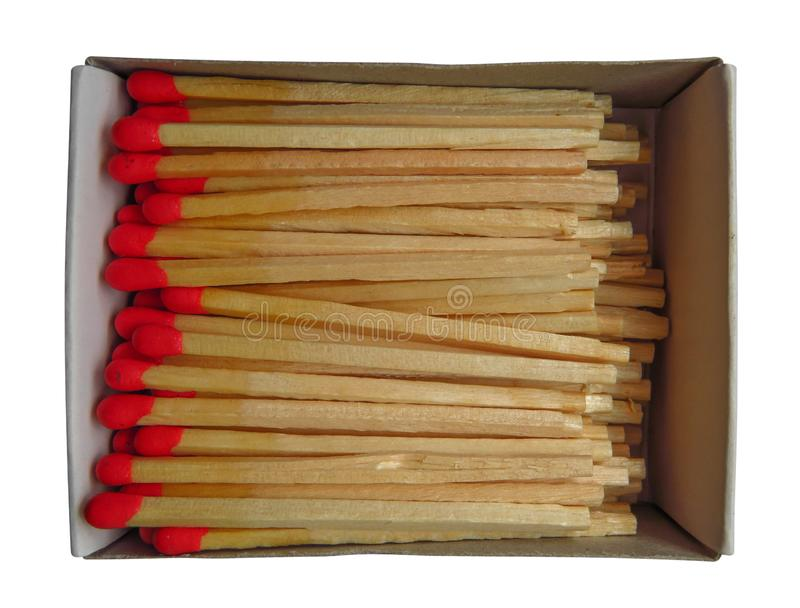 Matchbox with red matches isolated. On white. Clipping Path included stock images