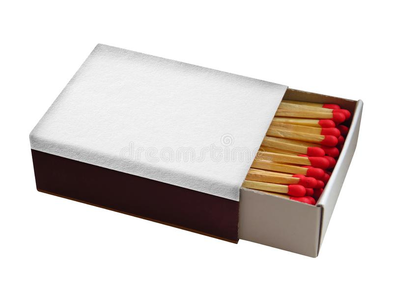 Matchbox with red matches isolated. On white. Clipping Path included royalty free stock photos