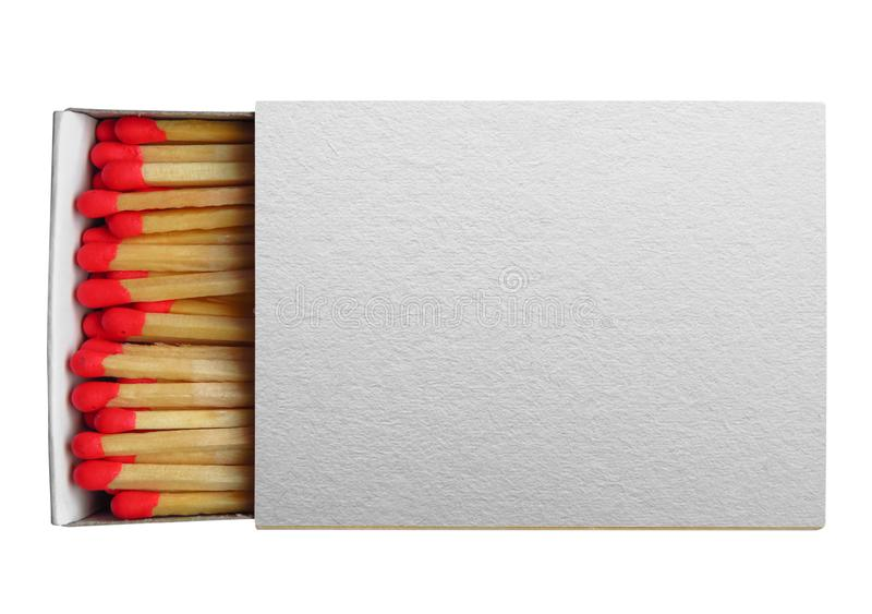 Matchbox with red matches isolated. On white. Clipping Path included stock photo
