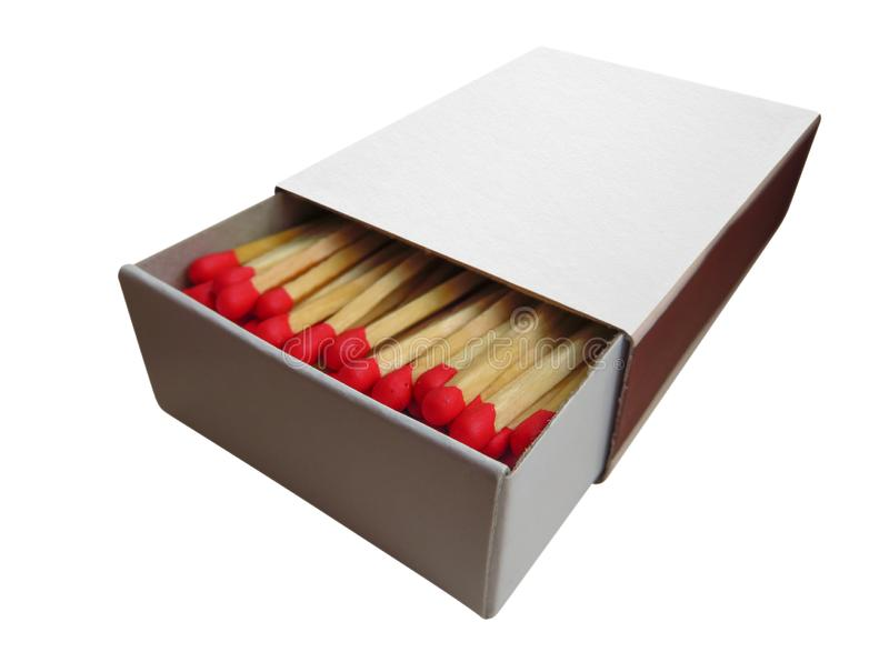 Matchbox with red matches isolated. On white. Clipping Path included stock photography