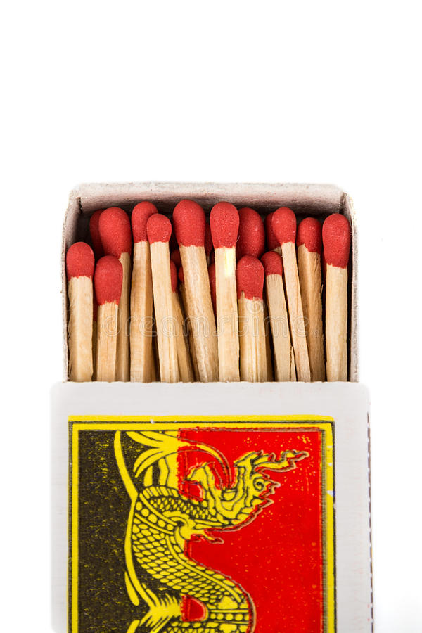 Matchbox. Top view. Isolated stock photos