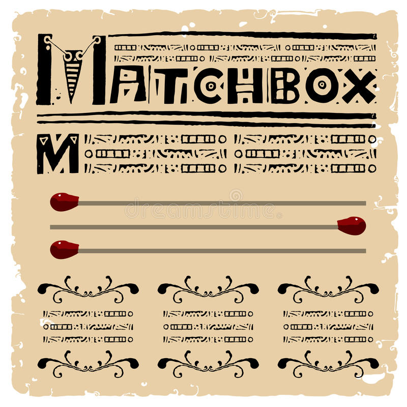 Matchbox Typography Woodcut Royalty Free Stock Images