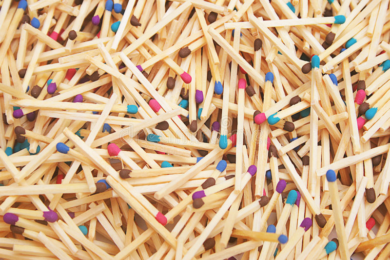 Matches of different colors. stock photo