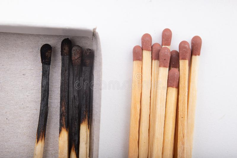 Matches for lighting a fire. Accessories in needed at a domestic farm stock photography
