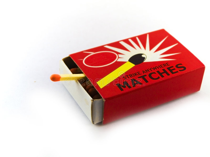 Matches and Matchbox on White Background royalty free stock images