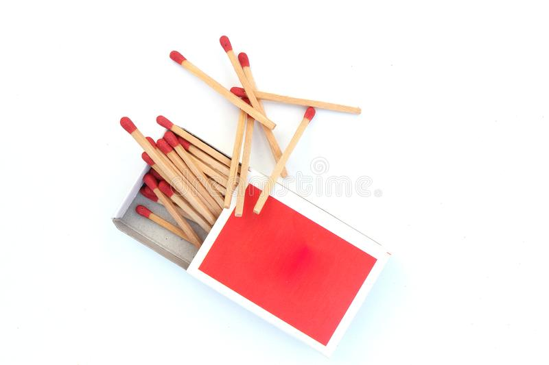 Matches, opened matchbox, matchstick isolated on white background. High resolution image gallery stock photography