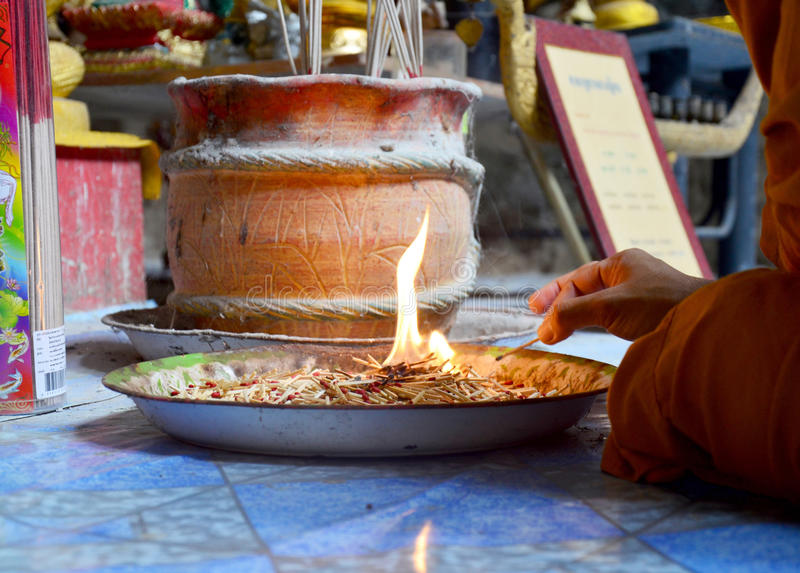The matches for religious ceremony of fire. In cave of temple at Lopburi, Thailand stock images