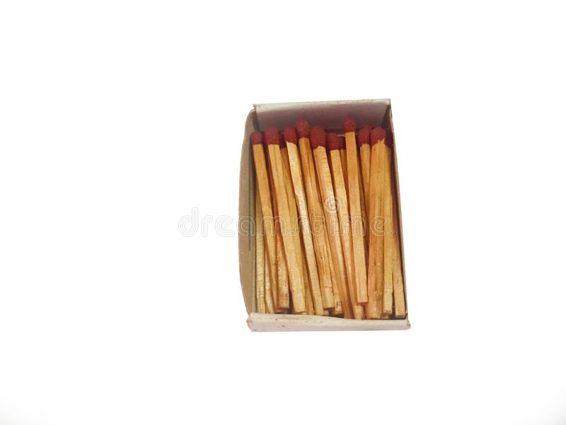 Matches stick on white background isolated close up ,clear background close up shoot from wooden red group royalty free stock photography