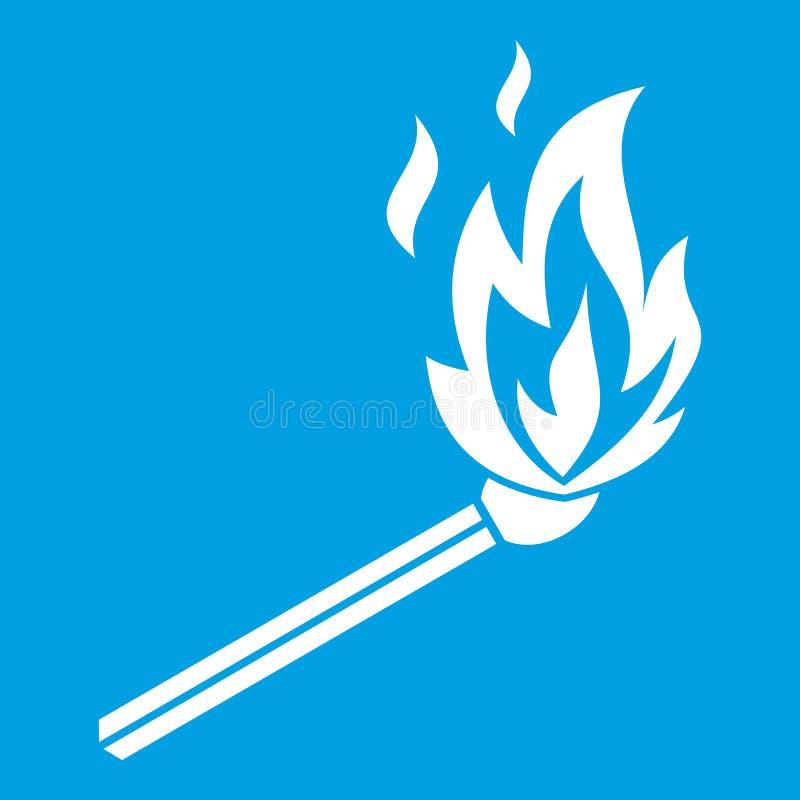Matchflammen-Ikonenweiß lizenzfreie abbildung