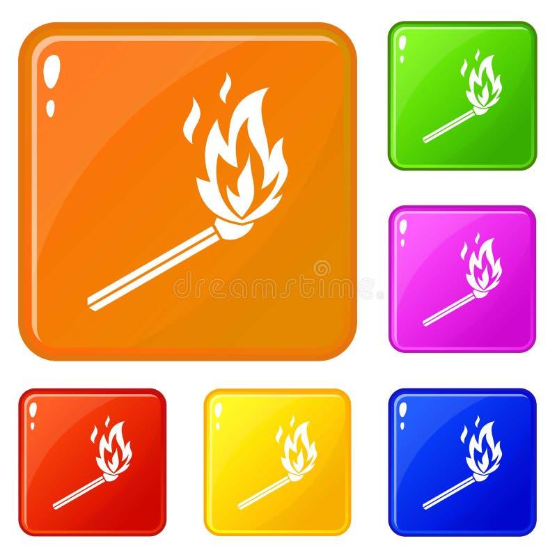 Matchflammenikonen stellten Vektorfarbe ein vektor abbildung