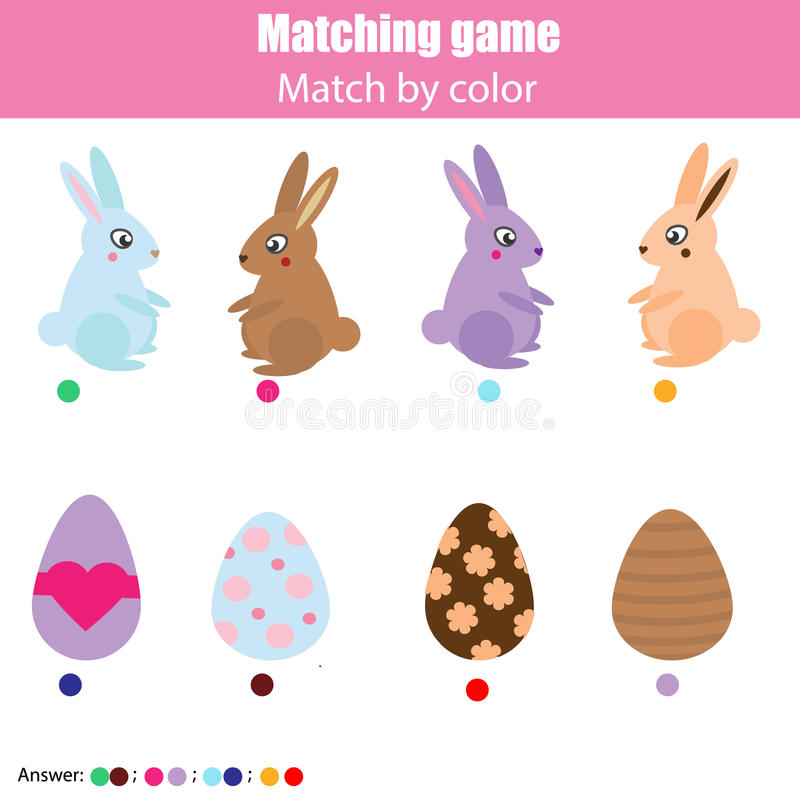 Matching children education game, kids activity. Easter hunting theme. Match by color. Connect bunny with eggs stock illustration