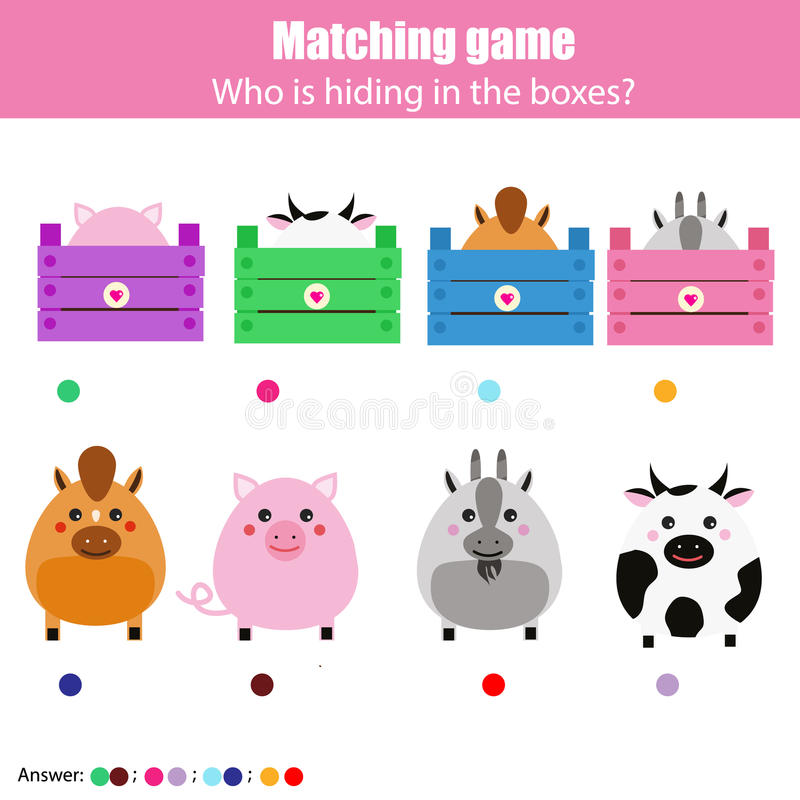 Matching children education game, kids activity. Match animals with box. Match the animals with box children education game. Learning animals theme kids activity royalty free illustration