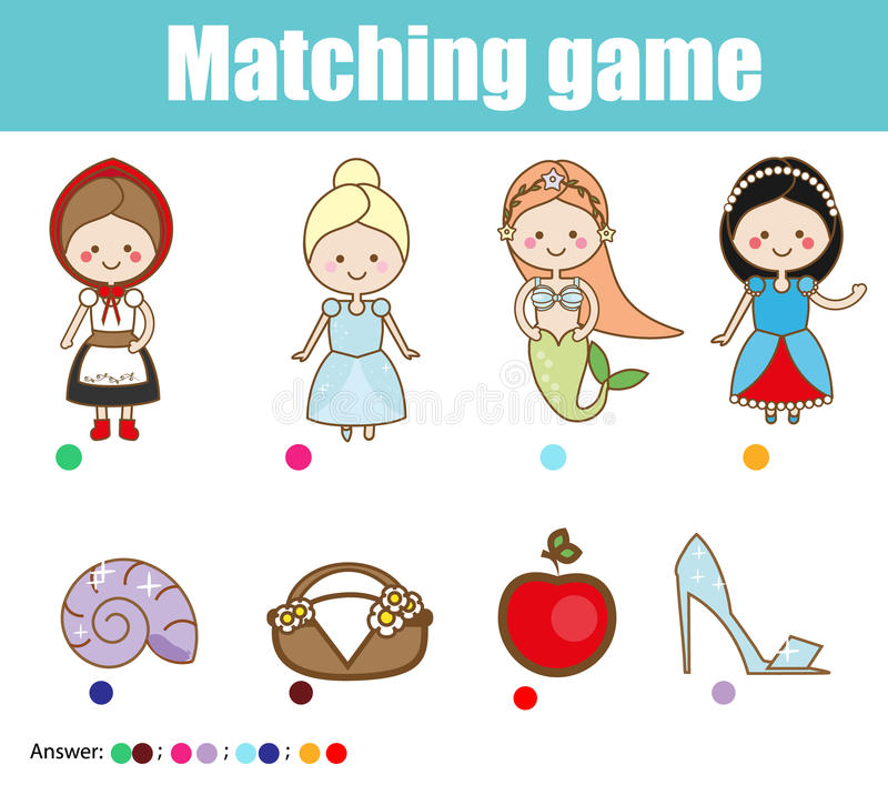 Matching children educational game. Match fairy tales princess with objects stock illustration