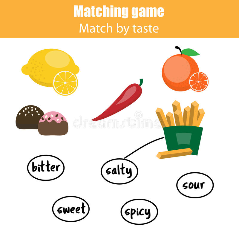 Matching children educational game, match food by taste. Matching pairs game for kids. Match food with taste stock illustration