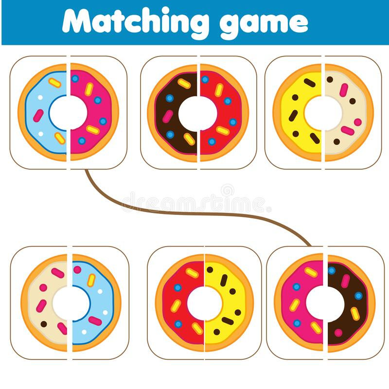 Matching children educational game. Match parts of donuts. Learning symmetry for kids and toddlers. Food theme vector illustration