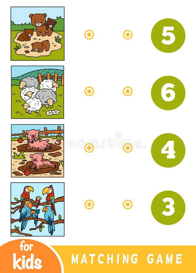 Matching education game for children. Cartoon animals on a colored background. Matching education game for children. Count the animals and choose right number stock illustration