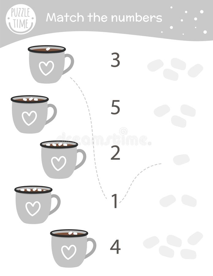 Matching Game With Cacao Cups And Marshmallow. Winter Math Activity For  Preschool Children. Christmas Counting Worksheet. Stock Vector -  Illustration Of Education, Flat: 165465748