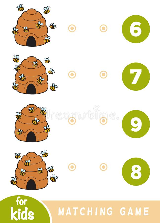 Matching game for children. Count how many bees are in the picture and choose the correct number vector illustration