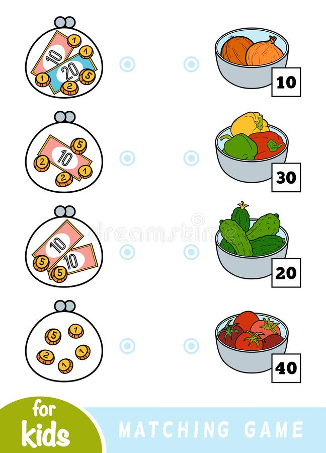 Matching game for children. Count how many money is in each wallet and choose the correct price. A set of vegetables. Matching education game for children. Count stock illustration