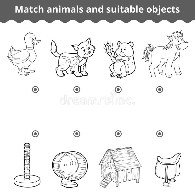 Matching game for children. Match animals and suitable objects vector illustration