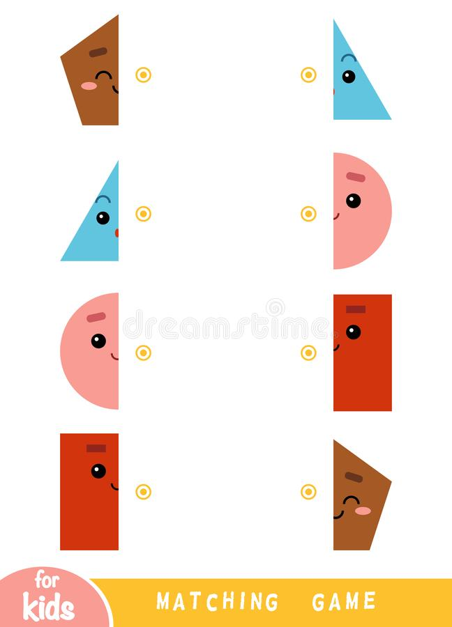 Matching game, game for children. Match the halves. A set of geometric shapes vector illustration