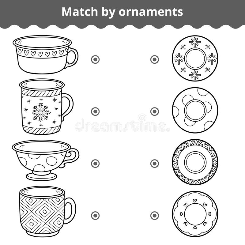 Matching game for children. Match plates and mugs by ornament. Matching game for children, vector black and white education game. Match plates and mugs by vector illustration