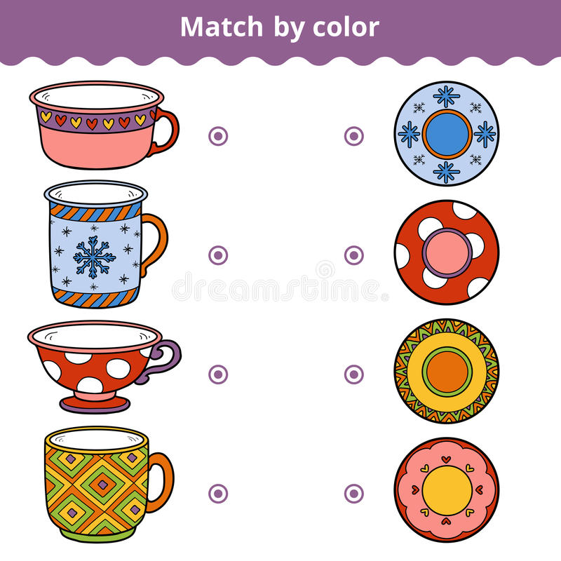 Matching game for children. Match plates and mugs by ornament. Matching game for children, vector colorful education game. Match plates and mugs by ornament royalty free illustration