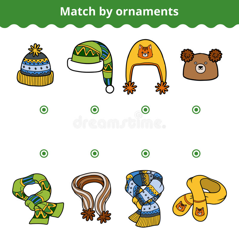 Matching game for children, Match the scarves and hats stock illustration