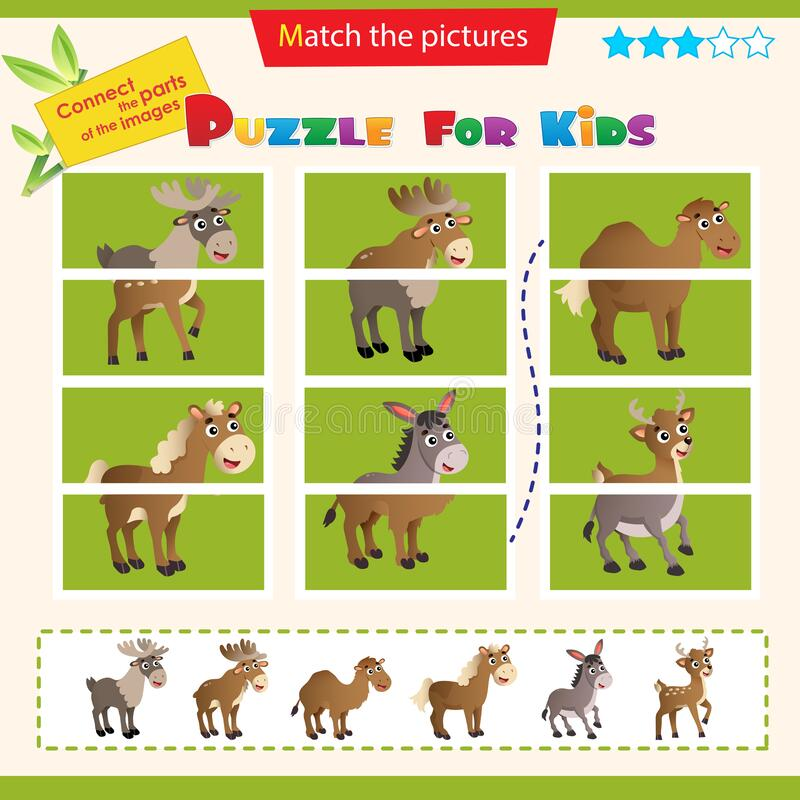 Matching game for children. Puzzle for kids. Match the right parts of the images. Set of animals. Elk, reindeer, camel, horse,. Donkey, deer royalty free illustration