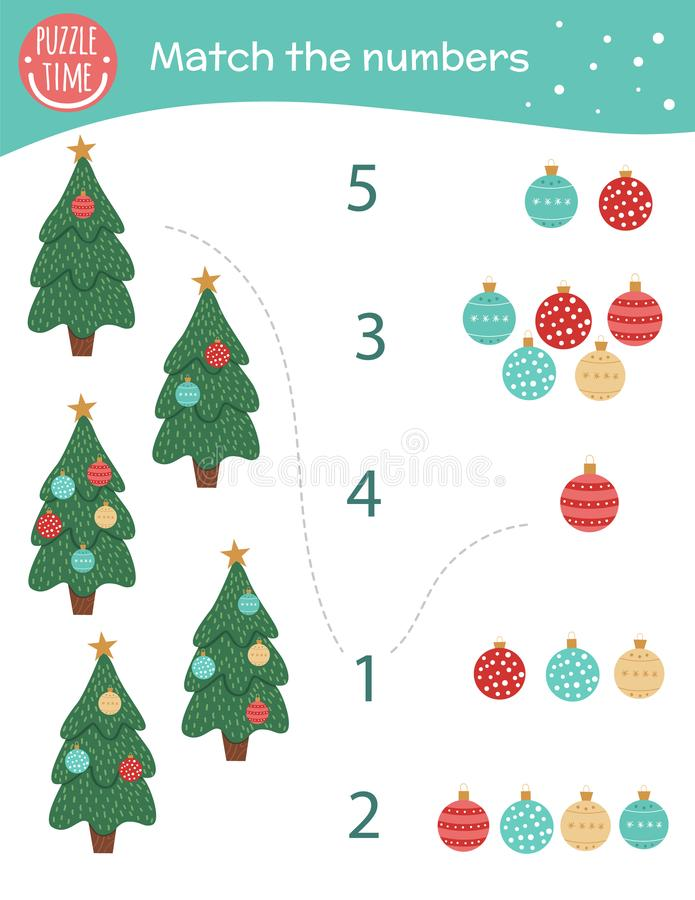 Matching game with Christmas trees and balls. Holiday math activity for preschool children. New Year counting worksheet. Educational riddle with cute funny royalty free illustration
