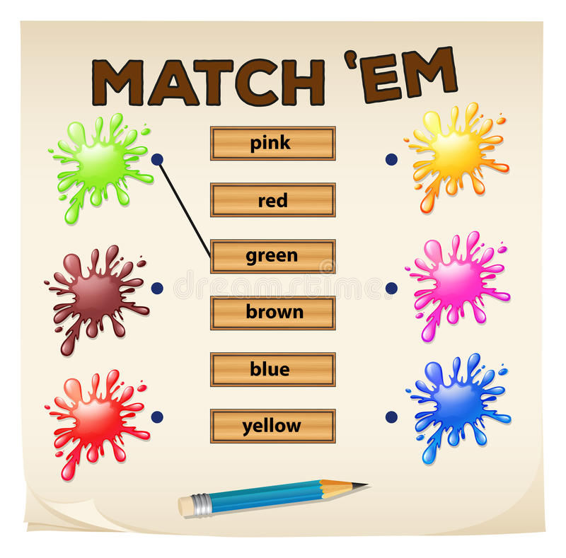 Matching game with colors vector illustration