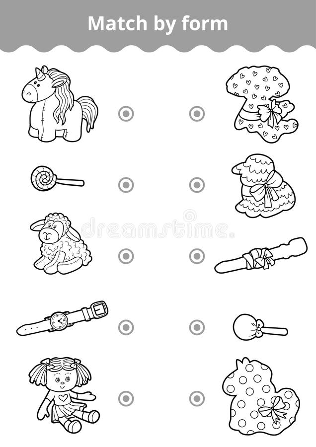 Free Matching Game, Education Game For Children. Connect Girl`s Toys Royalty Free Stock Photo - 91685825